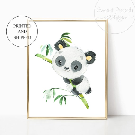 Panda Nursery Decor Wall Art Safari Jungle Zoo Animal Art Prints Cute Art Print Framed Print Bamboo China Panda Bear Boy Girl Gender Neutral