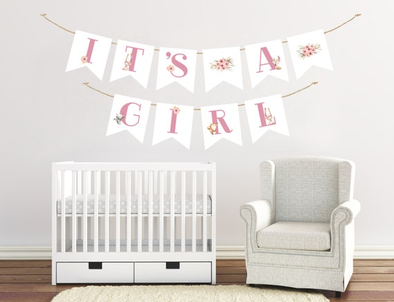 It's A Girl Banner Woodland Baby Shower Decor Nursery Bunting Banners Decorations Woodland Baby Showers Welcome Girl Fox Animal Wall Art