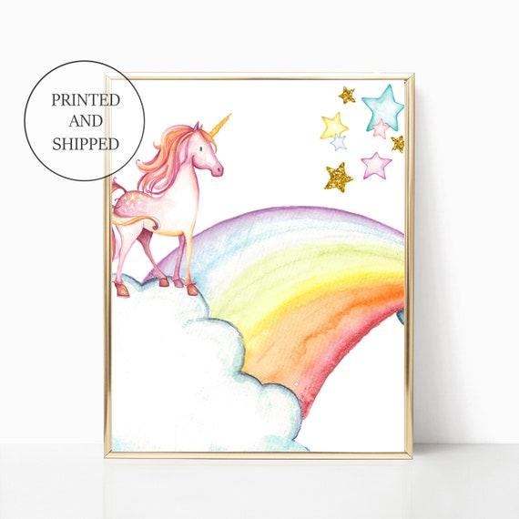 Unicorn Rainbow Nursery Decor Gold Rainbows Girl Wall Art Printed Prints Set Framed Print Unicorns Are Real Mermaids Told Me Sea Ocean Cloud
