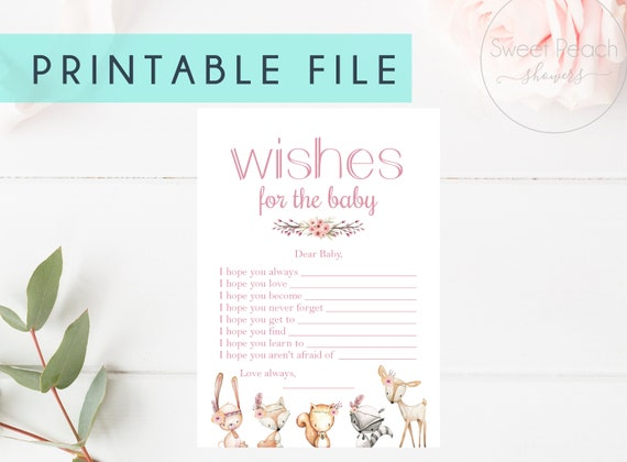 PRINTABLE Baby Shower Game Cards Wishes For Baby Girl Nursery Woodland Baby Shower Fox Animal Set Animal Little Boy Girls Games Cards