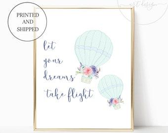 Printed Girl Nursery Wall Art Prints Decor Cute Hot Air Balloon Print Mint Navy Prints Matching Sets Girls Let Your Dreams Take Flight Gifts