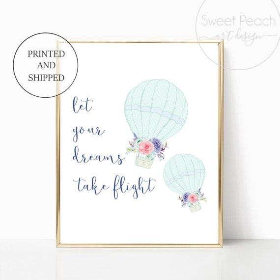 Printed Girl Nursery Wall Art Prints Decor Cute Hot Air Balloon Print Mint Navy Prints Matching Sets Girls Let Your Dreams Take Flight Gifts