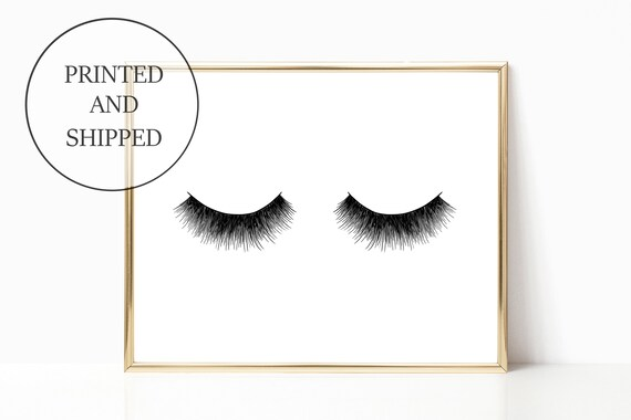 Eyelash Glam Decor Fashion Print Sign Wall Art Prints Signs 11 x 14 Printed Makeup Eyelashes Mascara Woman Gift For Her Home Girly Office