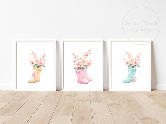 Flower Nursery Decor Floral Wall Art Print Set Mint Flower Floral Matching Sets of 3 Girl Watercolor Whimsical Floral Rainboot Decoration