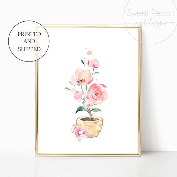 Flower Pot Girl Nursery Decor Wall Art Print Set Mint Flower Floral Matching Sets of 3 Girl Set Flower Bouquet Basket Whimsical Party Decor
