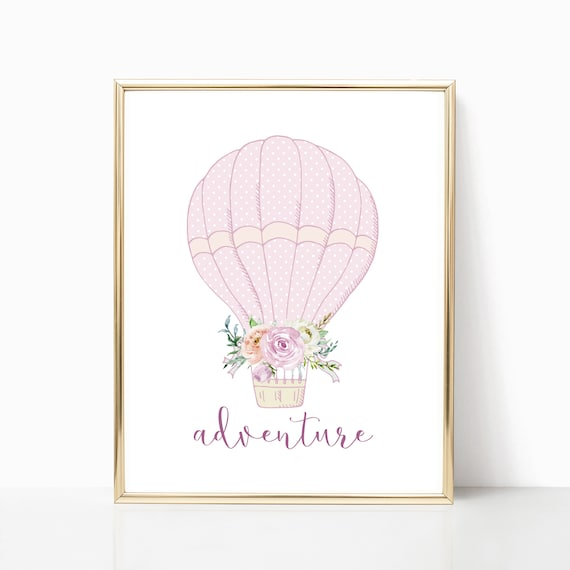 Girl Nursery Decor Hot Air Balloon Adventure Wall Art Print Download Printable Downloadable Prints Baby Room Watercolor Gallery Poster Pink