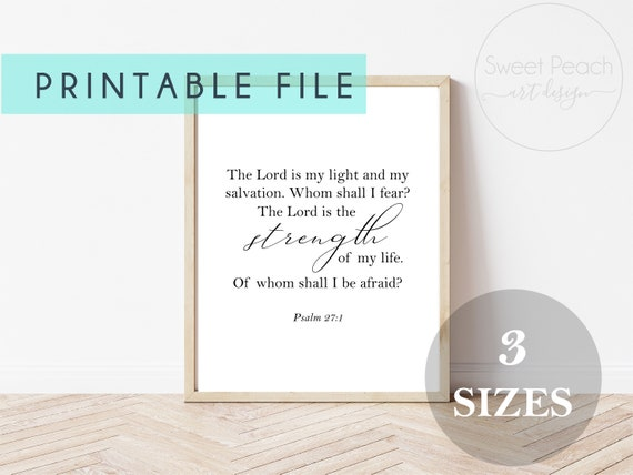 Psalms 27:1 Christian Decor Scripture Print Digital Printable Instant Download Wall Art Motivational Quote Arts Christian Religious Gift