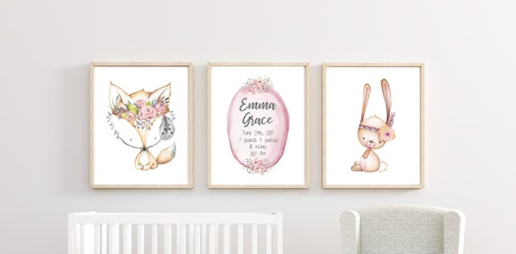 Woodland Nursery Decor Boho Fox Bunny Girl Name Custom Personalized Floral Wall Art Printed Prints Set Cute Animals Unframed Floral Flowers