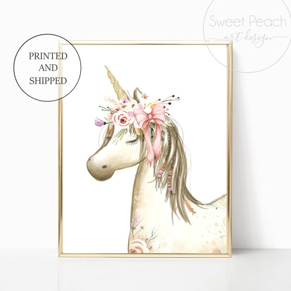 Boho Unicorn Nursery Wall Art Prints Unicorns Whimsical Decor Cute Art Print Framed Pink Baby Girls Nursery Baby Shower Room Floral Flower