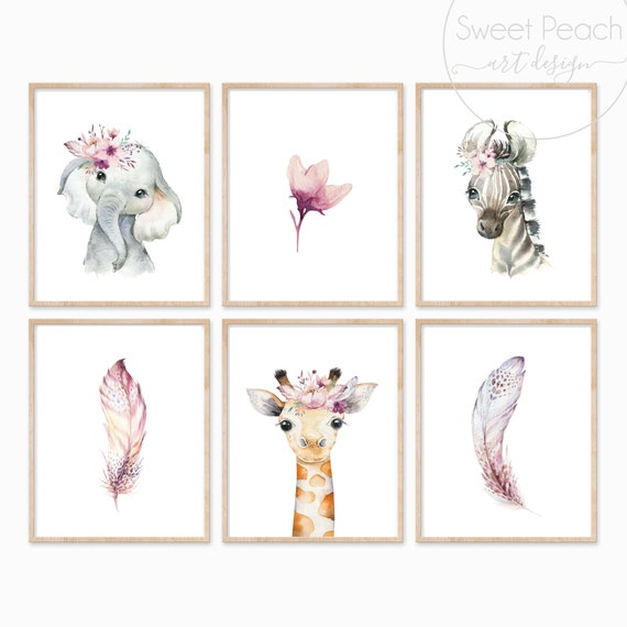 Boho Safari Set Nursery Floral Decor Safari Zoo Animal Wall Art Prints Set Cute Art Print Framed Print Feather Flower Elephant Zebra Giraffe