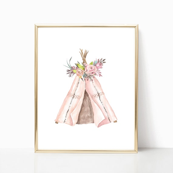 Nursery Decor Woodland Girl Boho Animal Floral Tribal Printable Prints Watercolor Flower Digital Wall Art Stay Wild Blush Gray Coral tipi