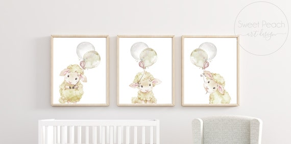 Gender Neutral Nursery Decor Farm Sheep Wall Art Lamb Printed Prints Set Cute Animals Unframed Balloons Birthday Newborn Stat Little Room