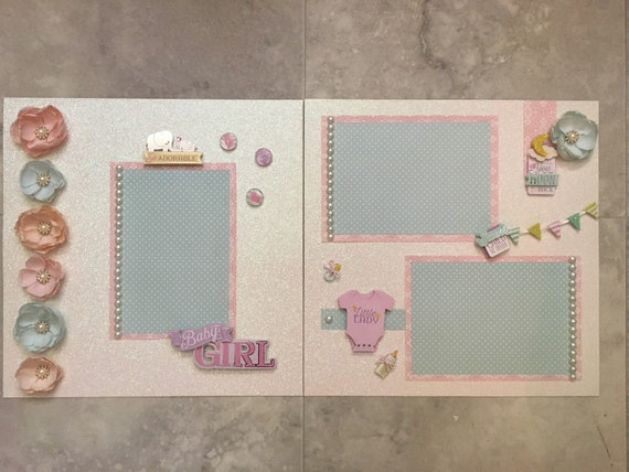 Girl Scrapbook Pastel Page Baby Scrapbooking Layout Pages Memory Layouts Girl Gift 12 x 12 Silver Foil Glitter Newborn Baby Flowers Floral