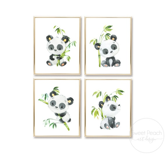 Panda Nursery Set Safari Jungle Decor Zoo Animal Wall Art Prints Cute Art Print Framed Print Bamboo China Panda Bear Boy Girl Gender Neutral