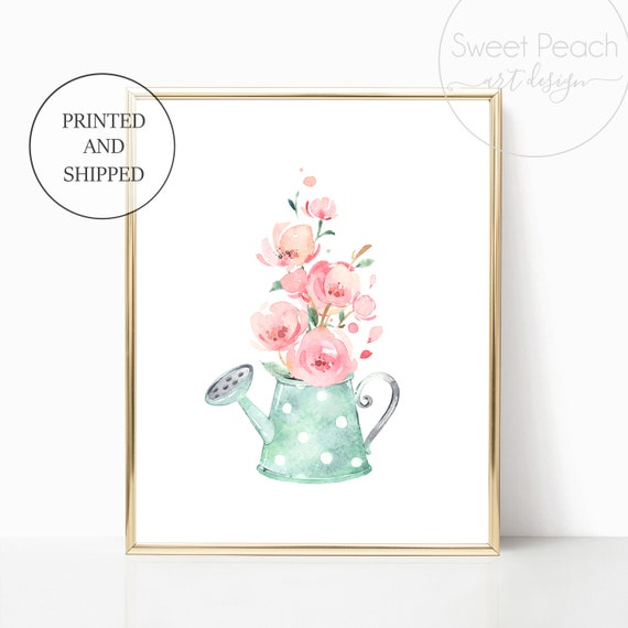 Watering Can Girl Nursery Decor Wall Art Print Set Mint Flower Floral Matching Sets of 3 Girl Set Flower Bouquet Basket Whimsical Party Art