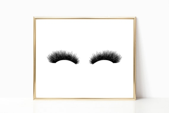 Eyelash Glam Decor Glamour Print Eyelashes Lash Fashion Chic Prints Stylish Woman Digital Printable Instant Download Black White Minimalist