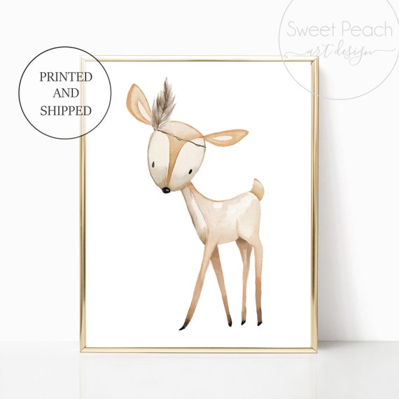Woodland Deer Nursery Decor Printed Wall Art Prints Set Cute Animal Print Unframed Prints Boho Gender Neutral Fawn Feather Girl Boy Room