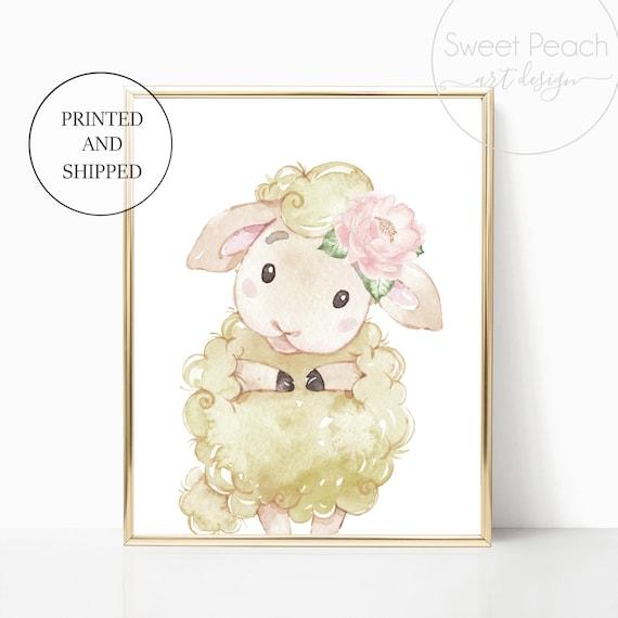 Lamb Sheep Nursery Decor Printed Wall Art Prints Set Cute Animal Print Unframed Prints Floral Flower Girl Christian Nursery 8x10 11x14 5x7