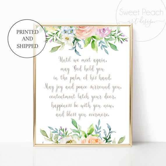 Bereavement Gift Print Floral Decor Wall Art Until We Meet Again Prints Set Framed Watercolor Floral 11x14 8x10 Printed Shipped Heaven Jesus