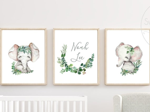Gender Neutral Elephant Nursery Decor Safari Animal Wall Art Boy or Girl Greenery Printed Print Framed Set Custom Name Safari Zoo Jungle Art