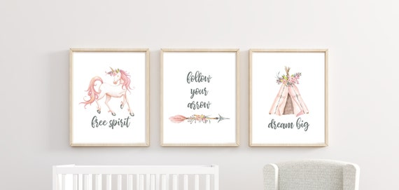 Boho Unicorn Nursery Decor Girl Floral Wall Art Printed Prints Set Tribal Tipi 11x14 Unframed Free Spirit Follow Your Arrow Dream Big Quotes