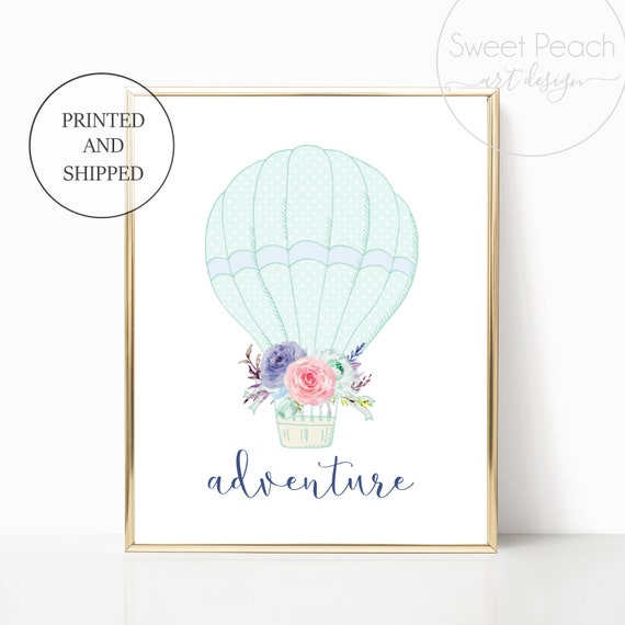 Hot Air Balloon Boy Nursery Wall Art Prints Printed Adventure Set Decor Cute Art Print Framed Matching Sets Mint Nursery Baby Shower Room