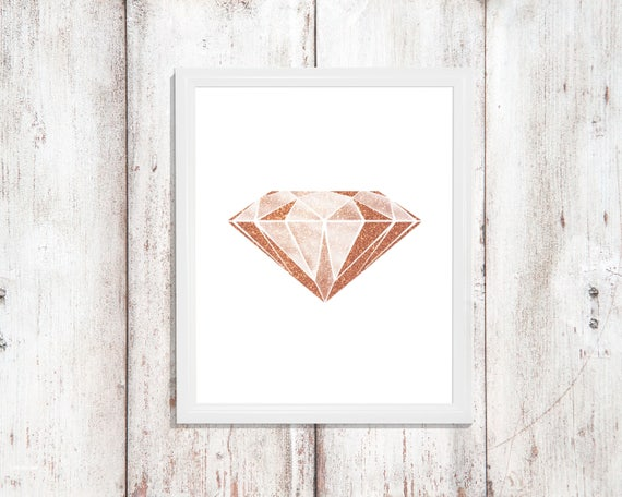 Glam Decor Diamond Rose Gold Wall Art Nursery Digital Download Print Printable Art Gift Baby Girl Glamour Sparkle Pink Minimalist Style