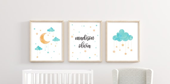 Custom Name Nursery Decor Moon Cloud Stars Print Wall Art Girl Boy Room Unframed Matching Sets Little Kid Poster 11 x 14 8 x 10 Watercolor