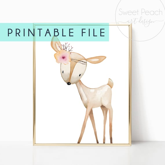 Nursery Decor Woodland Deer Fawn Girl Boho Animal Floral Printable Prints Watercolor Flower Digital Wall Art Wood Animals Cutout Digital Art