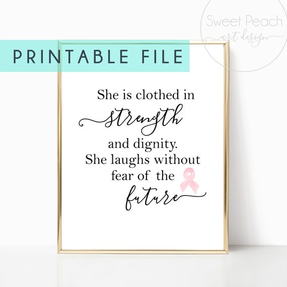 Cancer Survivor Gift Bible Verse She is Clothed with Strength Pink Ribbon Digital Download Wall Art Decor Breast Cancer Awareness Print Hope