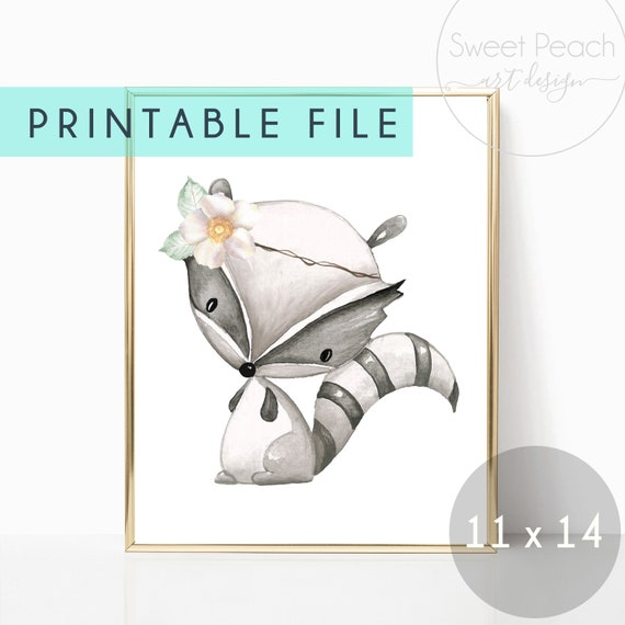 Woodland Nursery Decor Boho Animal Floral Printable Prints Raccoon Watercolor Flower Digital Wall Art Feathers boy girl Gender Neutral Decor