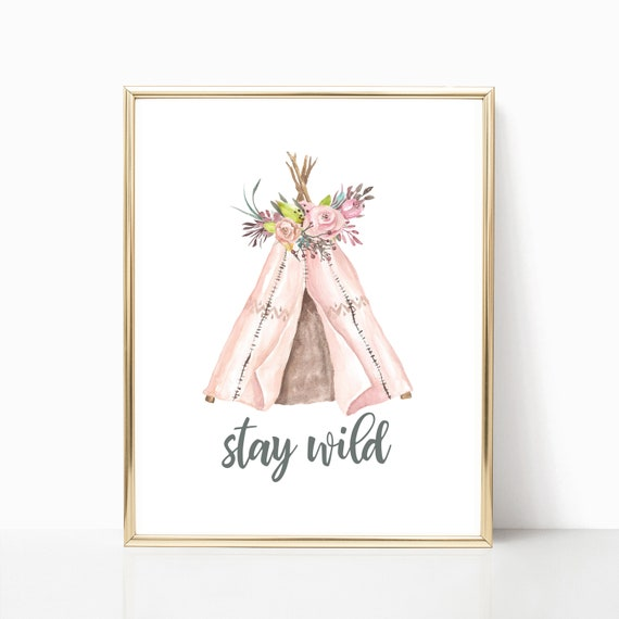 Nursery Decor Woodland Girl Boho Animal Floral Tribal Printable Prints Watercolor Flower Digital Wall Art Stay Wild Free Spirit Coral tipi