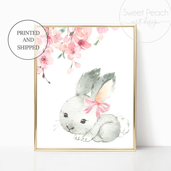 Rabbit Nursery Decor Bunny Wall Art Floral Woodland Animal Prints Set Decoration Girls Child Kid Watercolor Painting Forest Art Cute Framed