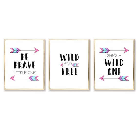 Boho Nursery Decor Girl Tribal Arrow Adventure She's A Wild One Free Be Brave Little One Digital Printable Download Decor Wall Art Prints
