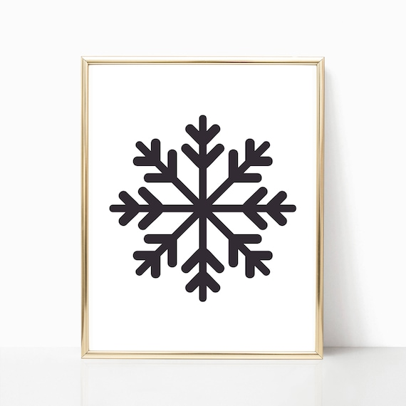 Christmas Decorations Gifts Decor Holiday Print Digital Snowflake Snow Flake Printable Instant Download Wall Art Decoration Black and White