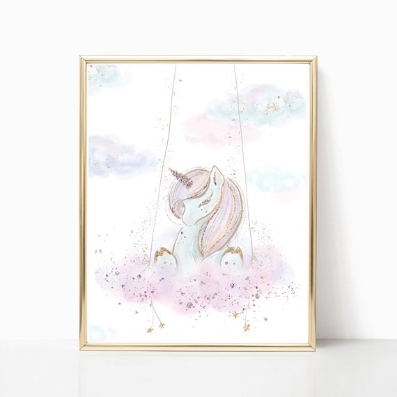 Unicorn Nursery Wall Art Digital Prints Unicorns Rainbow Moon Star Cloud Stars Decor Print Pink Baby Girls Instant Download Baby Shower Room