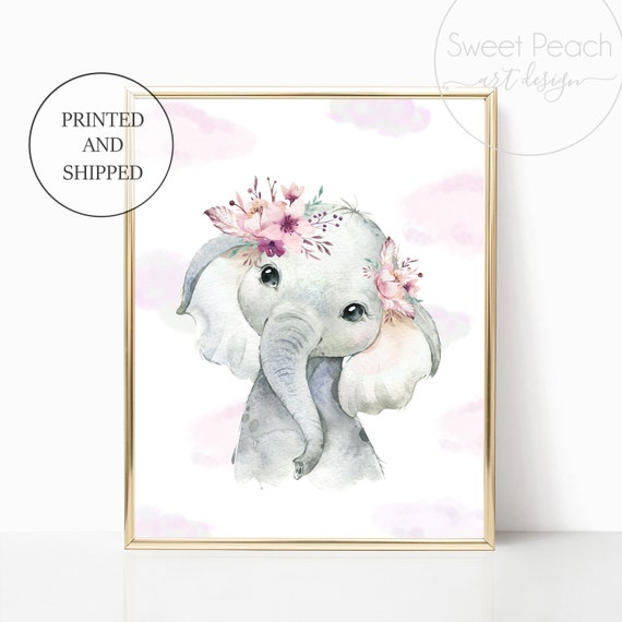 Boho Elephant Nursery Cloud Floral Decor Safari Zoo Animal Wall Art Prints Set Cute Art Print Framed Bohemian Print Decoration Flower Mauve