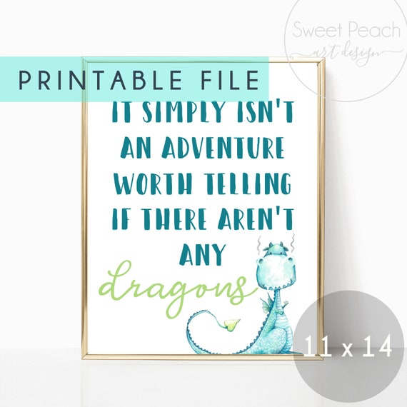 Dragon Nursery Decor Wall Art Adventure Worth Telling Decoration Printable Gift Digital Download Print Baby Boy Room Watercolor Little Boy