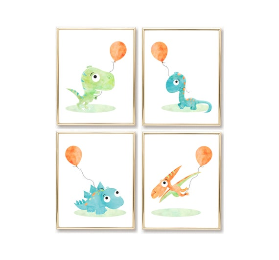 Nursery Decor Boy Wall Art Prints Gift Dinosaur Printable Digital Download Print Baby Room Dino Watercolor Little Poster Wall Decor Set Pack