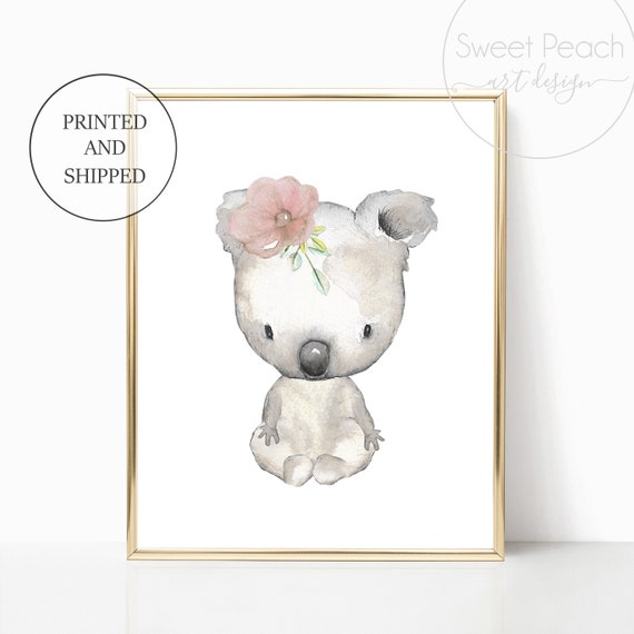 Australian Koala Bear Nursery Floral Decor Australia Animal Wall Art Set Print Framed Flower Koala Nursery Art Pink Grey Outback Safari Arts