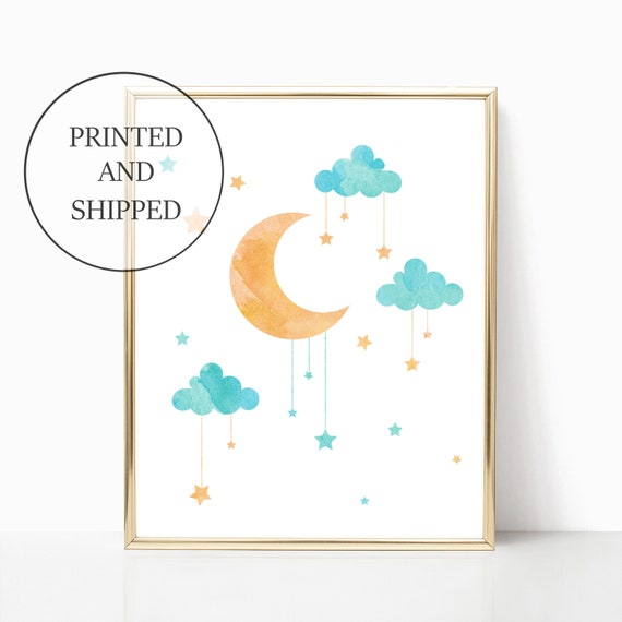 Nursery Decor Moon Cloud Stars Wall Art Girl Boy Room Prints Set Print Unframed Matching Sets Little Kid Poster 11 x 14 8 x 10 Nursery Cloud