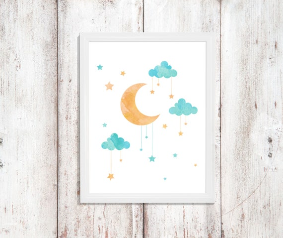 Nursery Decor Girl Boy Print Digital Print Download Printable Downloadable Wall Art Prints Baby Shower Gift Moon Star Wall Gallery Room Cute