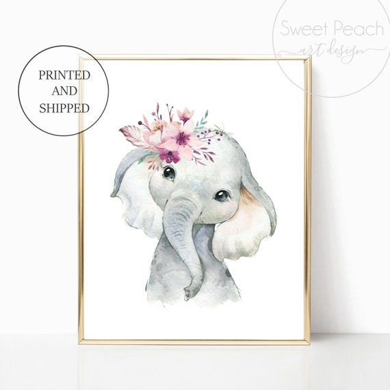 Boho Elephant Nursery Floral Decor Safari Zoo Animal Wall Art Prints Set Cute Art Print Framed Africa Bohemian Print Decoration Flower Mauve