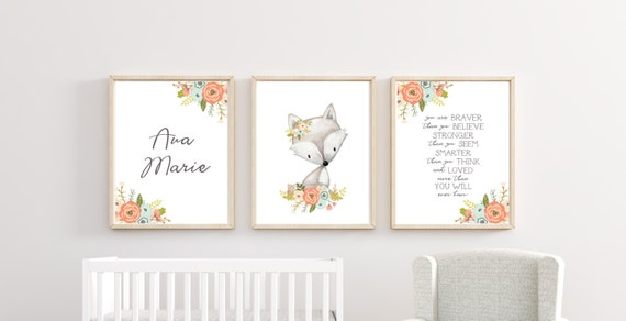 Woodland Fox Name Custom Nursery Decor Set Boho Girl Floral Wall Art Printed Prints Animal Baby Stats Framed Newborn Info Birth Announcement