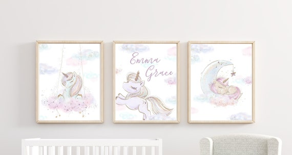 Unicorn Nursery Decor Moon Cloud Stars Print Wall Art Girl Room Frame Matching Sets Little Girls Nursery Art Clouds Pastel Custom Name