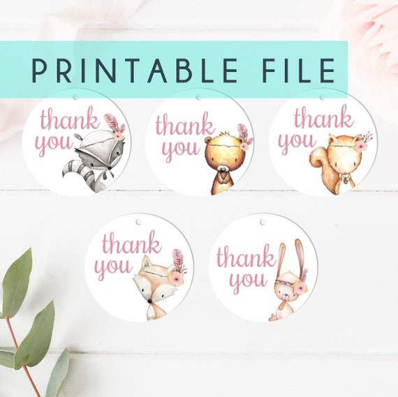 PRINTABLE Baby Shower Thank You Tags Circle Girl Woodland Baby Showers Fox Animal Set Animal Little Girls Party Favor Succulent Tags Thanks