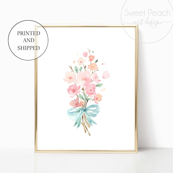 Flower Bouquet Girl Nursery Decor Wall Art Print Set Mint Flower Floral Matching Sets of 3 Girl Set Flower Bouquet Basket Whimsical Party