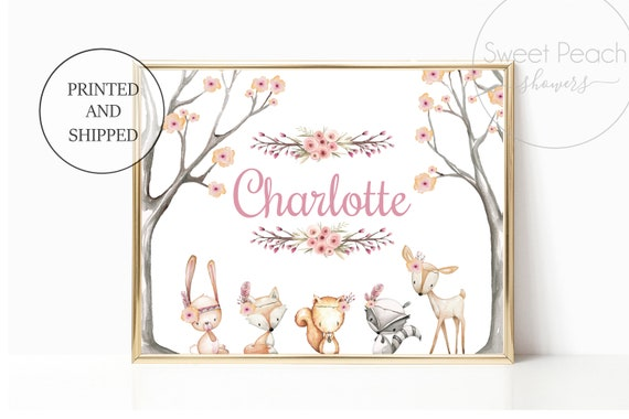 Girl Nursery Woodland Decor Fox Animal Wall Art Prints Set Cute Animal Art Baby Name Forest Print Unframed Matching Woods Little Boy Girls