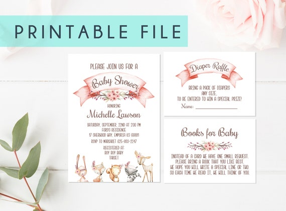 PRINTABLE Baby Shower Invitation Woodland Invites Girl Nursery Books for Baby Diaper Raffle Set Animal Woodland Theme Set Party Deer Fawn