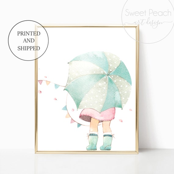 Umbrella Nursery Decor Wall Art Print Set Mint Flower Floral Matching Sets of 3 Girl Rain Boots Spring Showers Wind Takes Her Watercolor